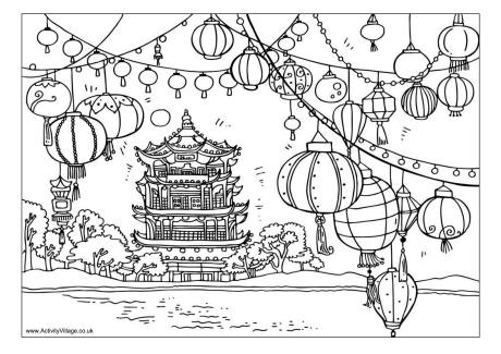 Chinese Lanterns Scene Colouring Page