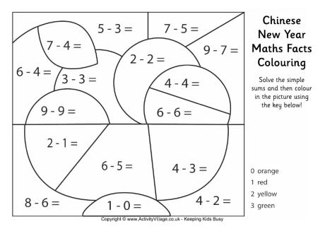 Chinese New Year Maths Facts Colouring Page