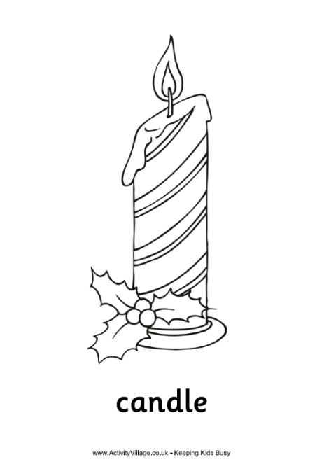 Christmas Candle Colouring Page