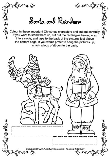 reindeer colouring pages