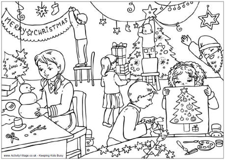 Christmas Classroom Colouring Page