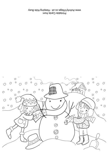 Building a Snowman Colouring Card