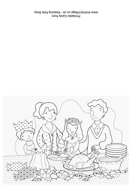 Christmas Dinner Colouring Card