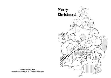 Decorating the Tree Colouring Card