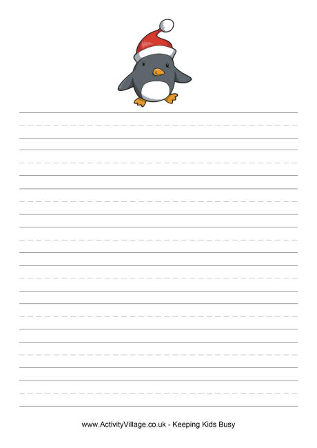 Christmas Penguin Writing Paper