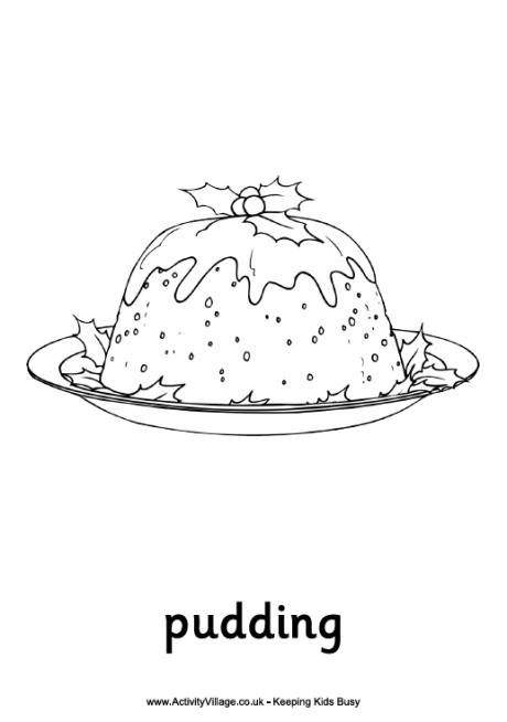 View and print Christmas pudding colouring page (pdf file)