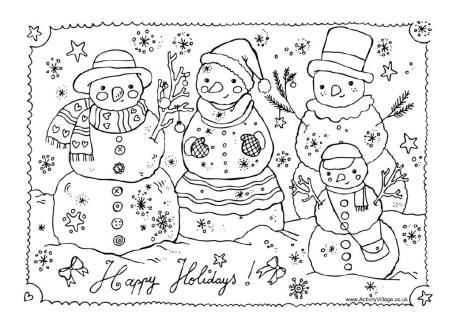 Christmas Snowmen Colouring Page