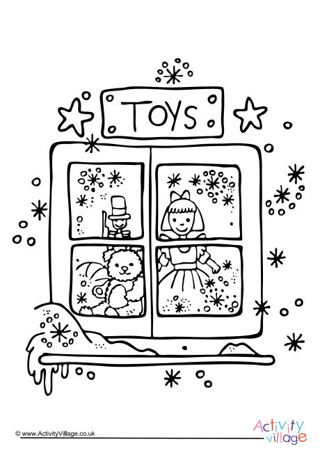 Christmas Toy Shop Colouring Page