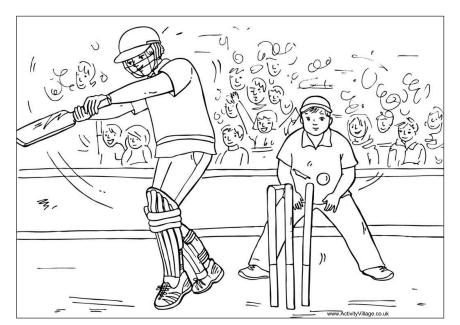Cricket Match Colouring Page