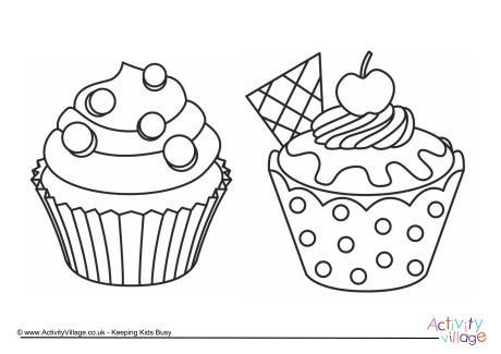 Cupcakes Colouring Page 1