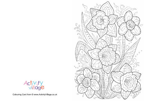 Daffodil Doodle Colouring Card
