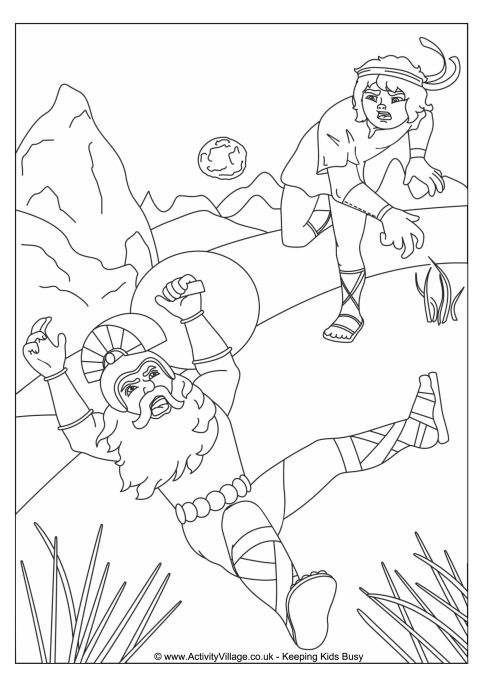 David and Goliath Colouring Page
