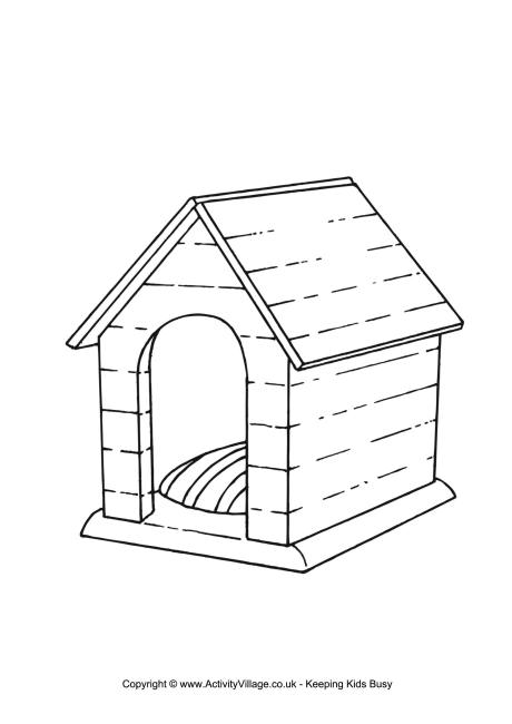 Dog Kennel Colouring Page