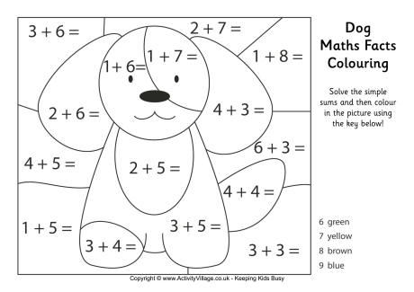 Dog Maths Facts Colouring Page