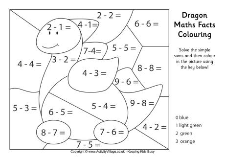 Dragon Maths Facts Colouring Page