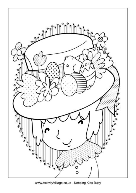 Easter Bonnet Colouring Page