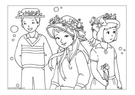 Easter Bonnet Parade Colouring Page