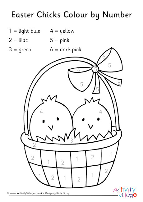 Easter Chicks Colour by Number