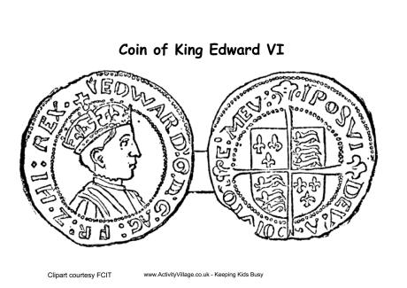 Edward VI Coins Colouring Page