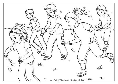 Egg and Spoon Race Colouring Page