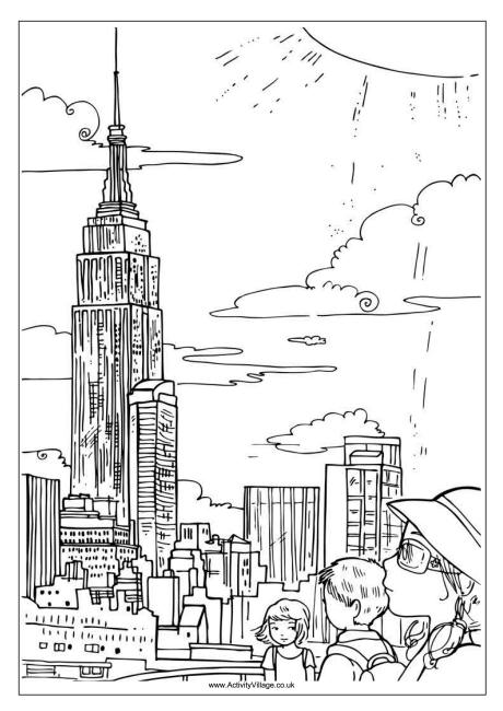 Empire State Building Colouring Page