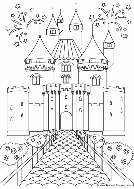 Fairy Castle Colouring Page