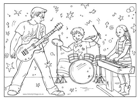 Family Band Colouring Page