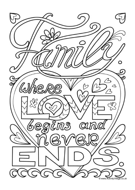 Family Where Love Begins Colouring Page