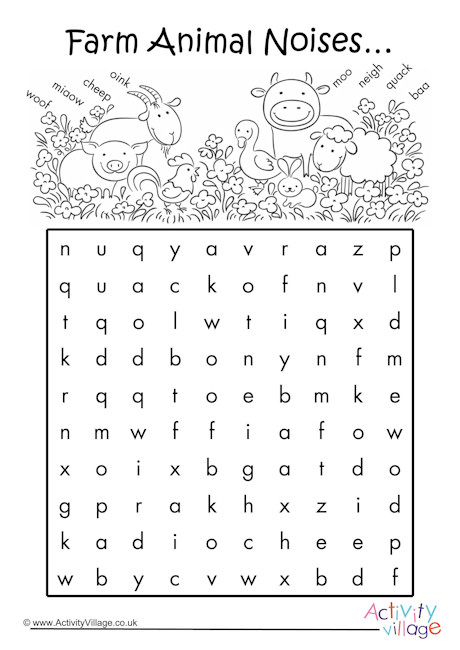 Farm Animal Noises Word Search 2