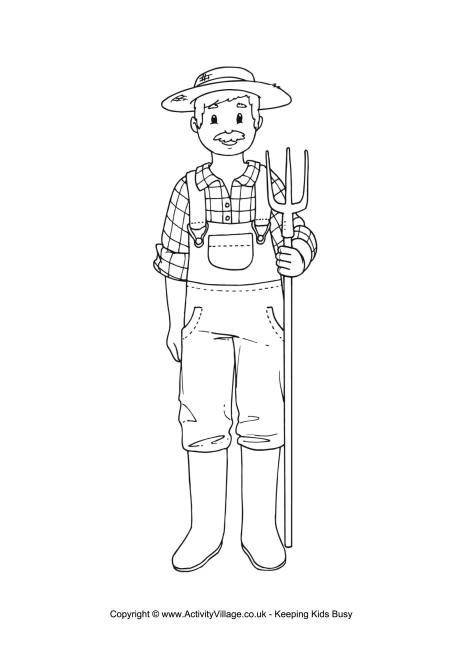 Farmer Colouring Page
