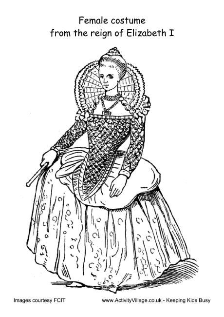 Female Costume Reign Of Elizabeth I Colouring Page