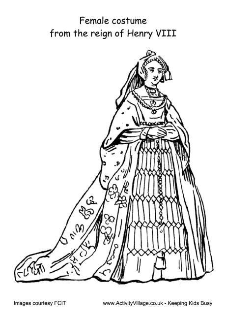 Female Costume Reign of Henry VIII Colouring Page