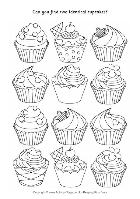 Find Two Identical Cupcakes Puzzle