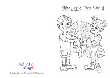 Flowers for You Colouring Card