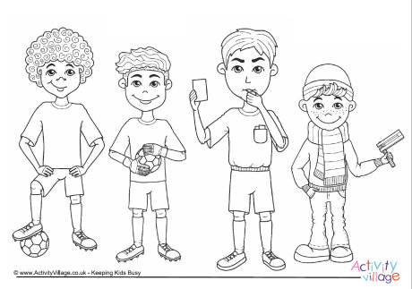 Football Characters Colouring Page
