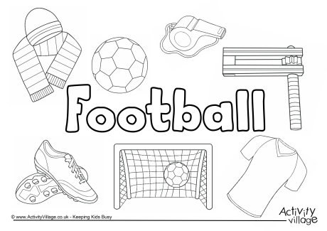 Football Collage Colouring Page