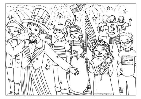 Fourth of July Colouring Page
