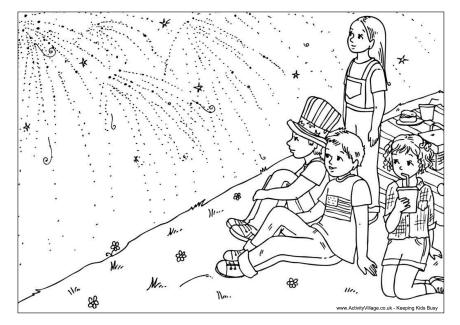 Fourth of July Fireworks Colouring Page