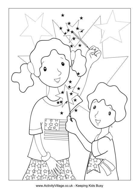 Fourth of July Sparklers Colouring Page