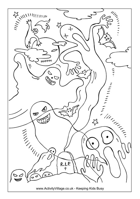 Ghosts Colouring Page and Puzzle