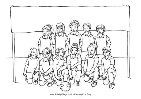 Girls Soccer Team Colouring Page