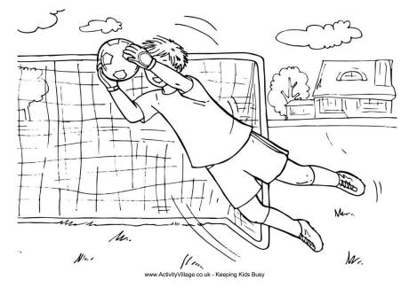 Goalkeeper Boy Colouring Page