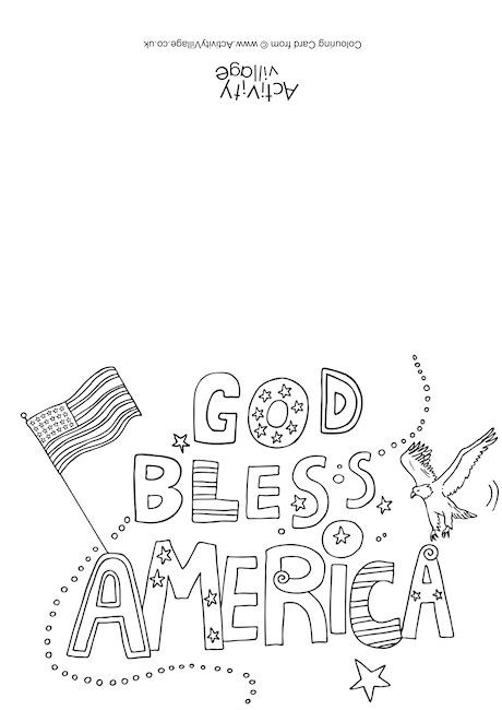 God Bless America Colouring Card
