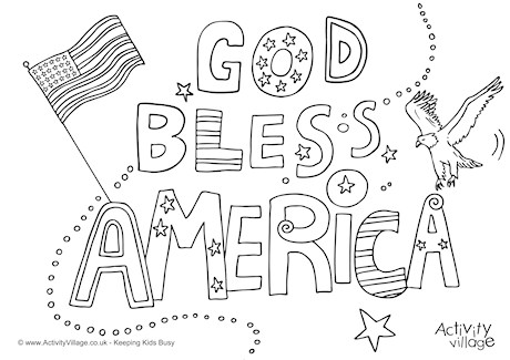 God Bless America Colouring Page
