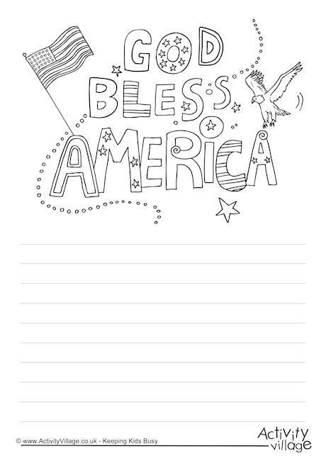 God Bless America Story Paper