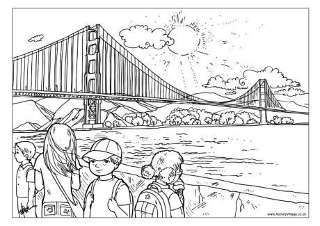 Golden Gate Bridge Colouring Page