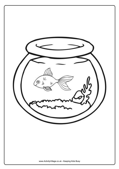 Goldfish Bowl Colouring Page