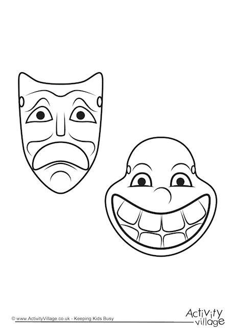 Greek Theatre Masks Colouring Page