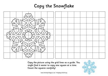 Grid Copy Snowflake Christmas Drawing for Kids