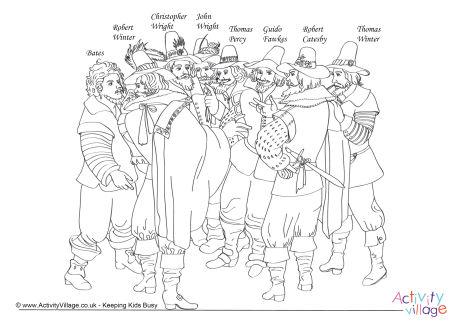 Gunpowder Plotters Colouring Page